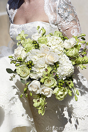 Bridal wedding bouquet of flowers