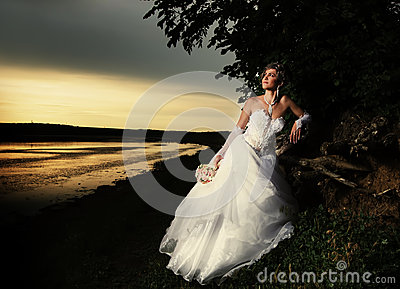Bride admiring the sunset