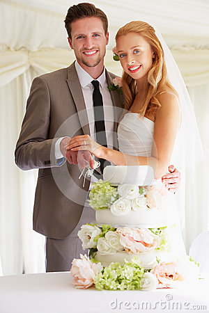 Free Bride And Groom Cutting Wedding Cake At Reception Stock Photos - 33084483