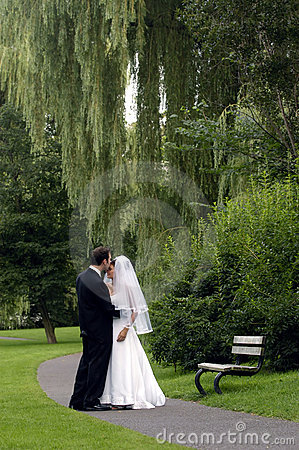 Free Bride And Groom In A Park Royalty Free Stock Images - 50969