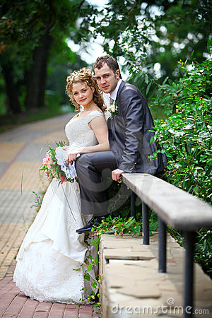 Free Bride And Groom In Park Stock Image - 21292651