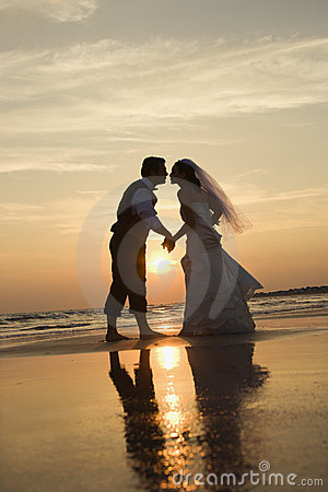 Free Bride And Groom Kissing On Beach. Royalty Free Stock Photo - 2038245