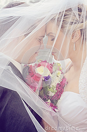 Free Bride And Groom Under Veil Stock Photo - 32337940