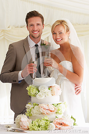 Free Bride And Groom With Cake Drinking Champagne At Reception Stock Images - 33084484