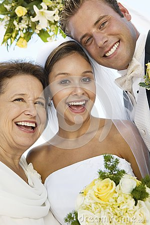 Free Bride And Groom With Mother Outdoors (close-up) (portrait) Stock Photography - 30839932