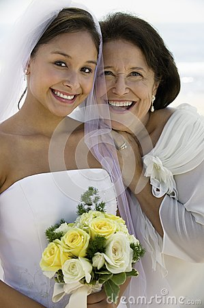 Free Bride And Mother With Flowers Smiling (close-up) (portrait) Stock Images - 30839854