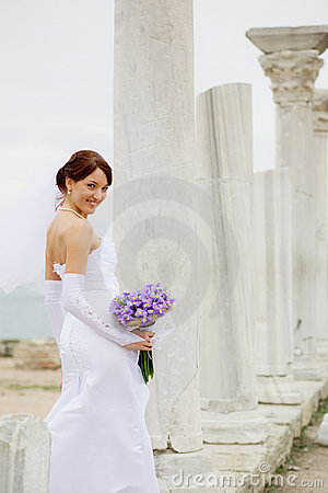Bride among antique architecture
