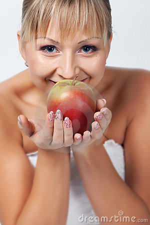 Bride with apple