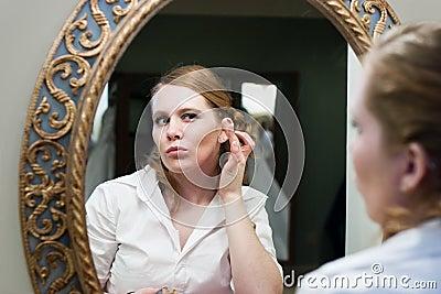 Bride Applying Makeup Wedding Day
