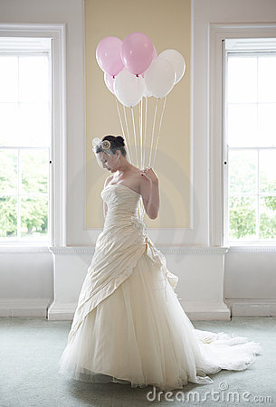 Bride and ballons