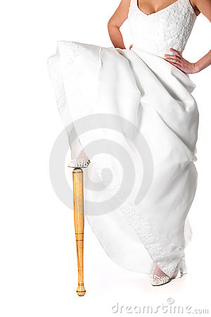 Bride and baseball bat