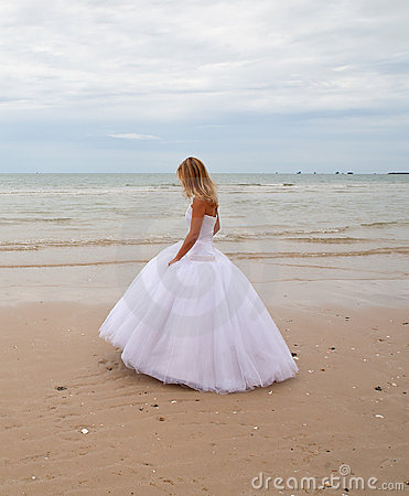 Bride on a beach.
