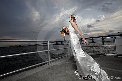 Bride and a beautiful skyscape