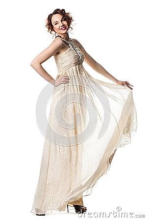 Bride in beige dress