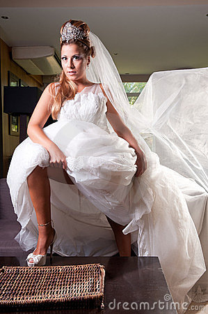 Bride with big veil
