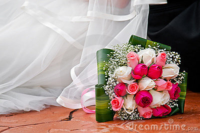 Bride bouquet on floor