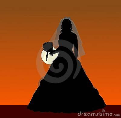 Bride with a bouquet silhouette