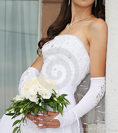 Bride with bunch of flowers
