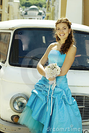Bride and car
