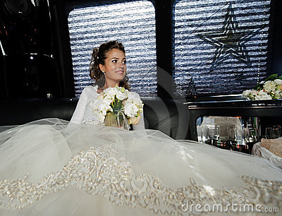 The bride in the car.
