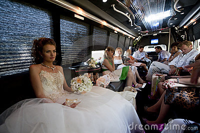 The bride in the car. Editorial Photography