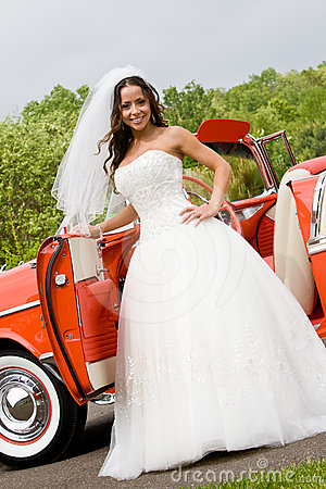 A bride with a car
