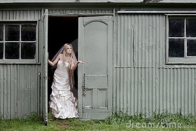 Bride checking for Rain