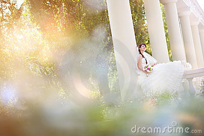 Bride In Columns Stock Images - Image: 23409564