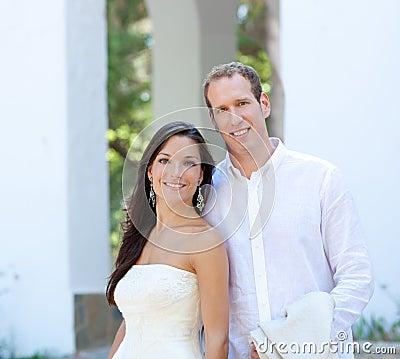 Bride couple just married in mediterranean