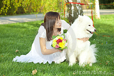 Bride with dog Samoyed