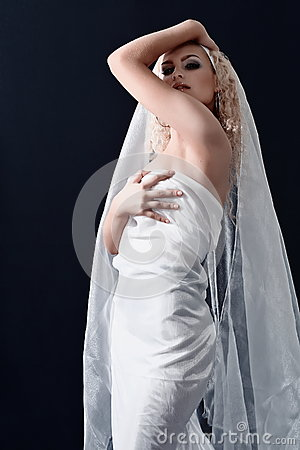 Bride in dress with white veil