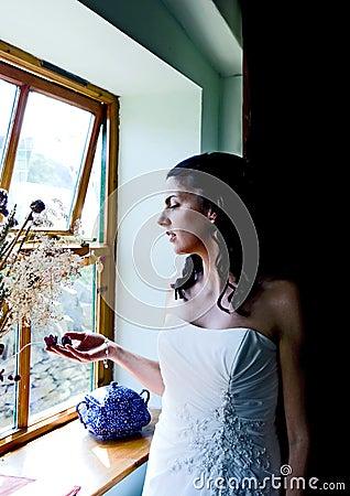 Bride enjoying a quiet moment