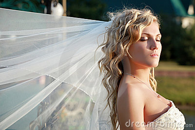 Bride with eyes closed
