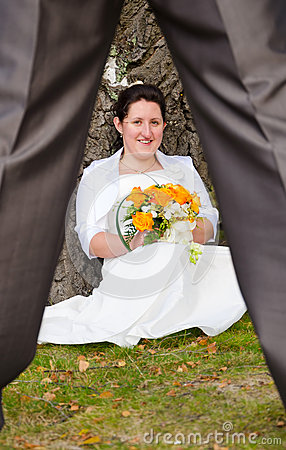 Bride flirting with new husband