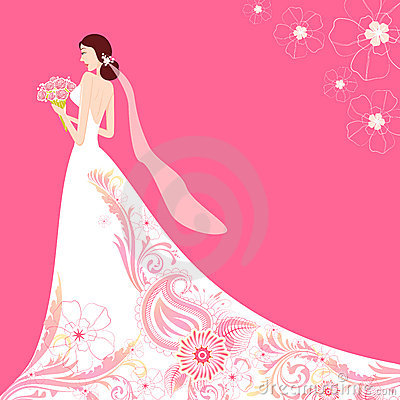 Bride in Floral Wedding Dress