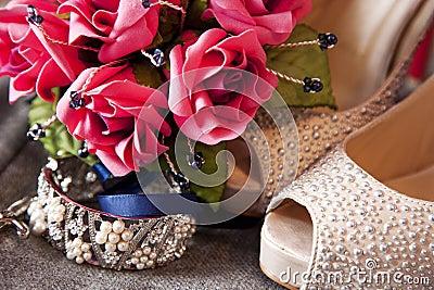 Bride Flower Bouquet, Bracelet and Shoes
