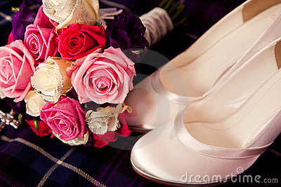Bride Flower Bouquet and Satin Shoes
