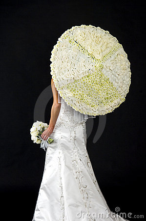 Bride with a Flower Umbrella