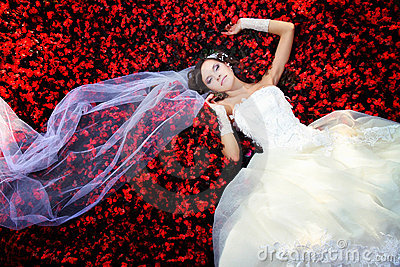 Bride in the flowers