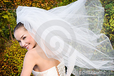 Bride with fly veil