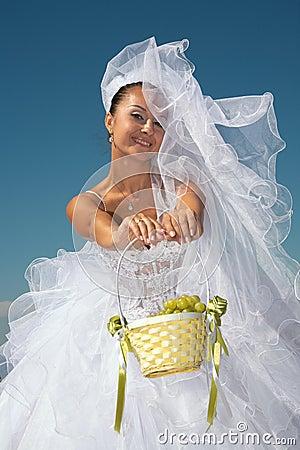 Bride & grapes