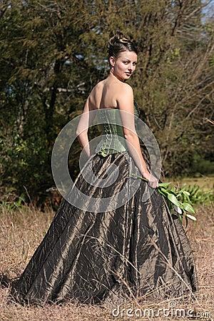 Bride in green dress