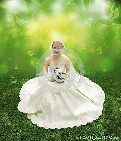 Bride on green grass collage