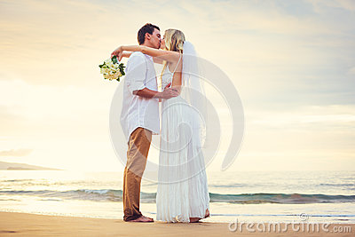 Bride and Groom, Beautiful Tropical Beach at Sunset, Romantic Ma