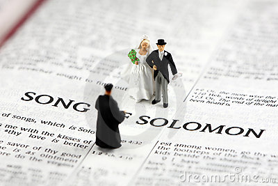 Bride and groom on bible