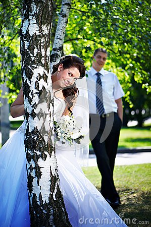 Bride and groom at the birches