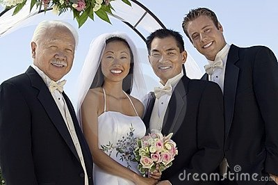 Bride, Groom,  father and best man
