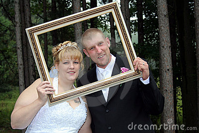 Bride and Groom Formal Portrait in Frame