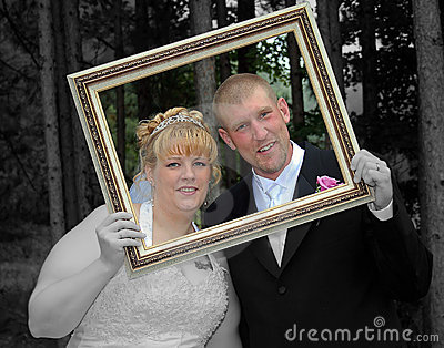 Bride and Groom Formal Portrait in Frame Selective Color