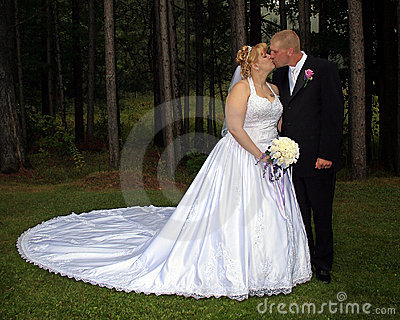 Bride and Groom Formal Portrait kiss